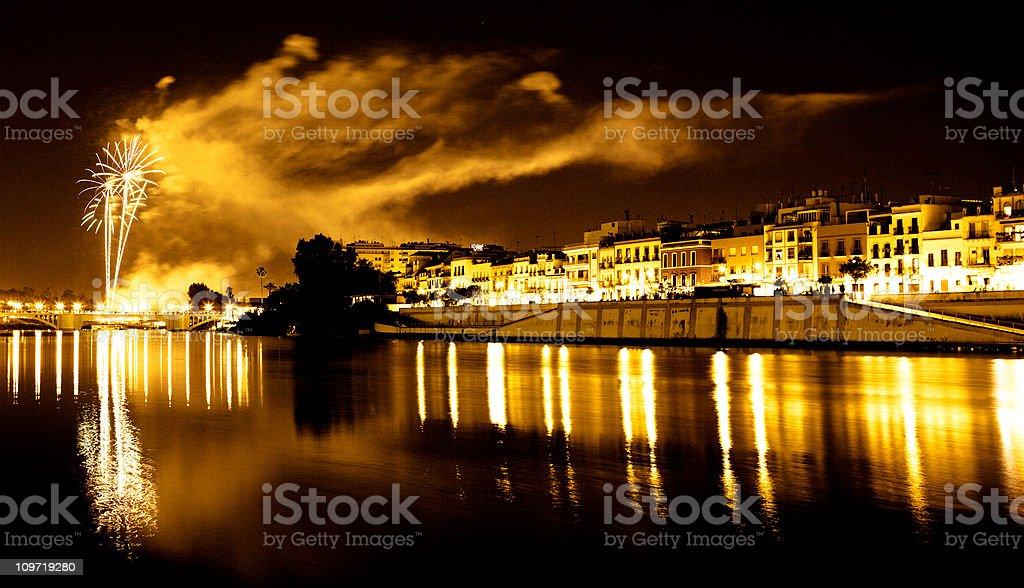 Fireworks in Sevilla royalty-free stock photo