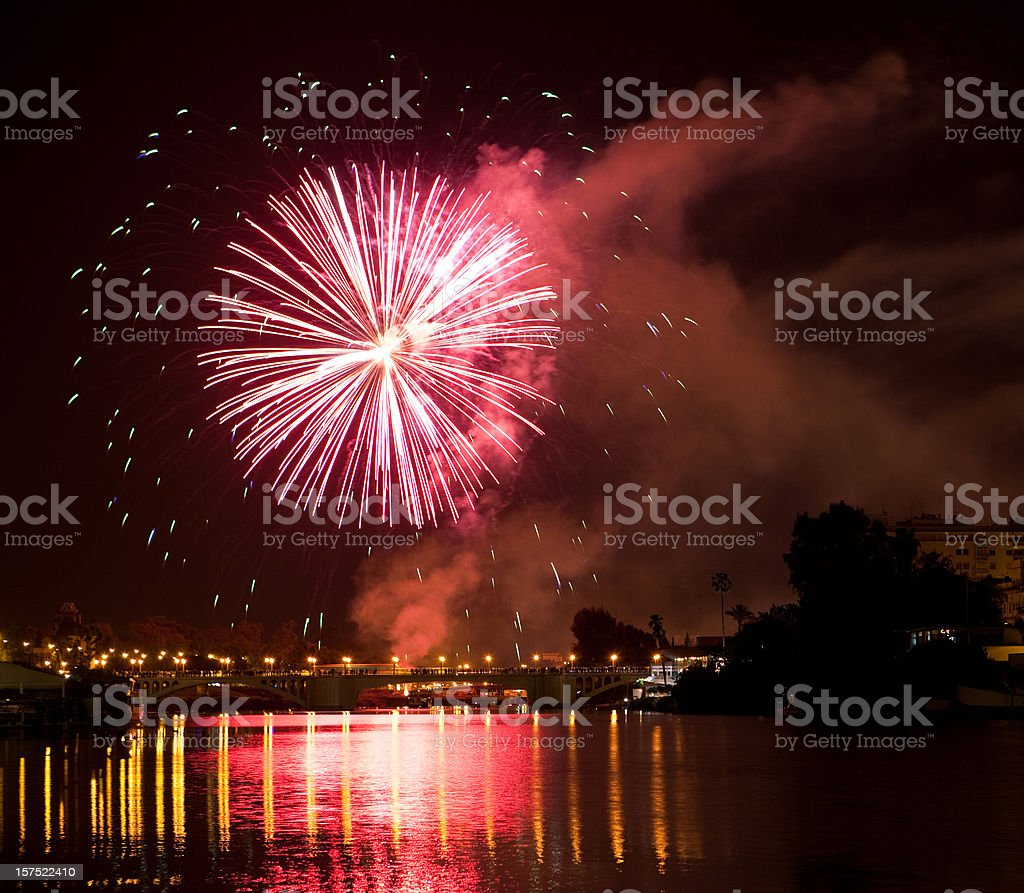 Fireworks in Sevilla royalty-free stock photo