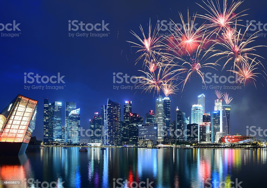Fireworks in Singapore stock photo