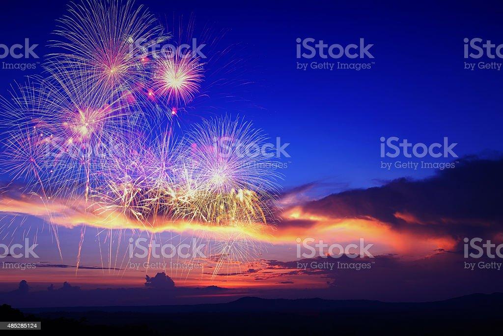 fireworks in sky twilight stock photo