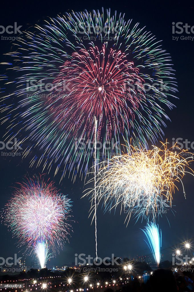 Fireworks in Sumidagawa Fireworks Festival, Tokyo stock photo