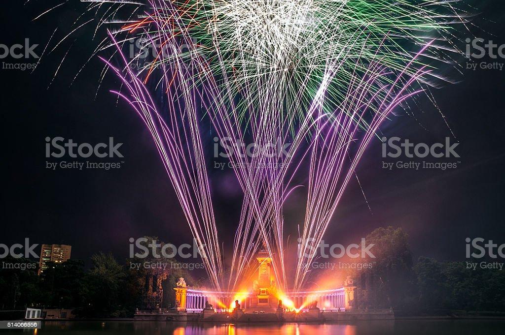 Fireworks in the Buen Retiro Park, Madrid stock photo