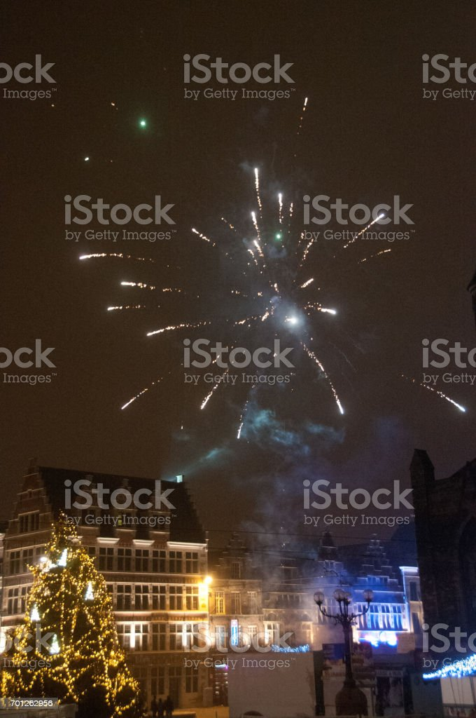 Fireworks in the city of Ghent stock photo