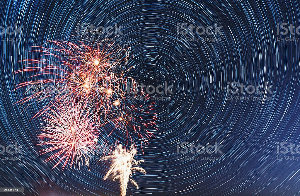 Fireworks in the Stars royalty-free stock photo