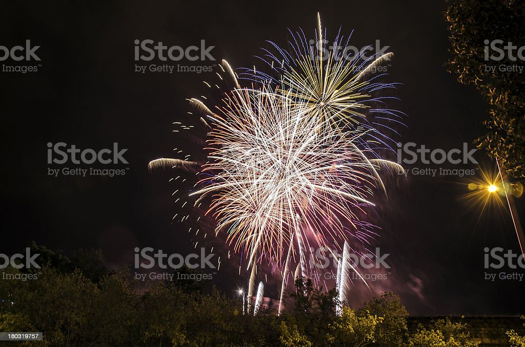 Fireworks in to the sky royalty-free stock photo