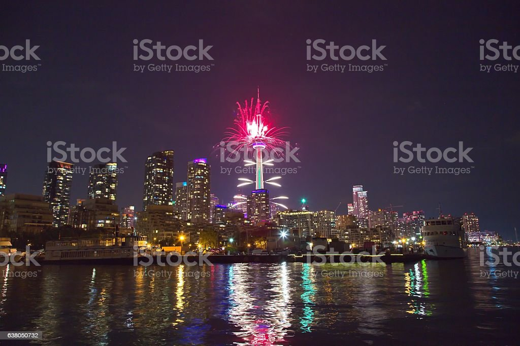 Fireworks in Toronto, Ontario, Canada stock photo