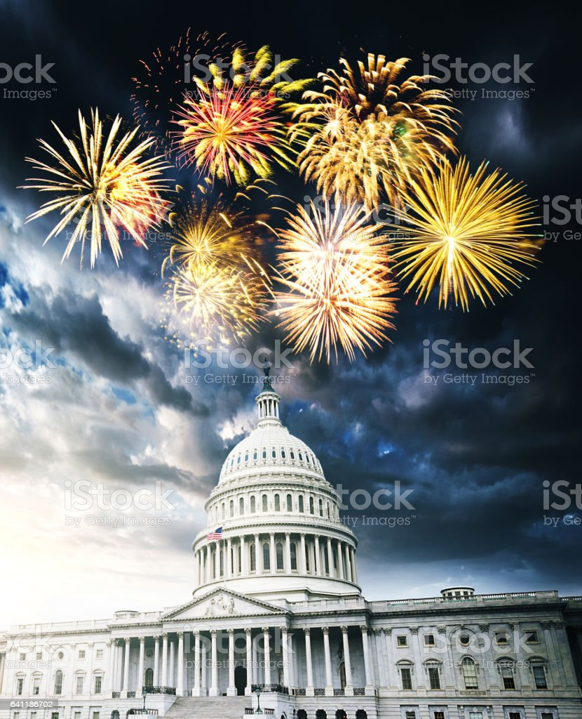 fireworks in washington dc stock photo
