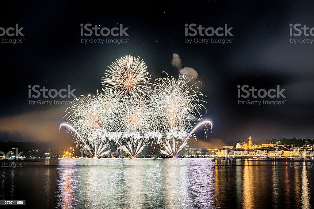 Fireworks, lakefront of Arona - Piedmont stock photo