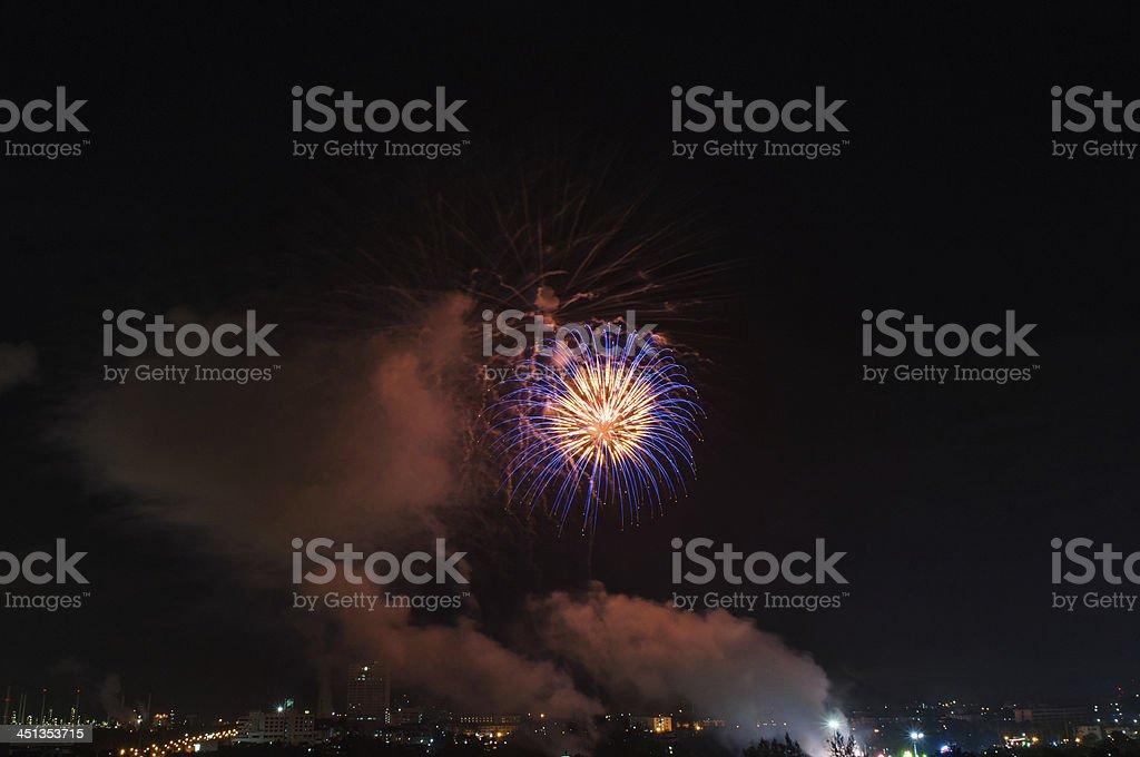 Fireworks light at chonburi city royalty-free stock photo