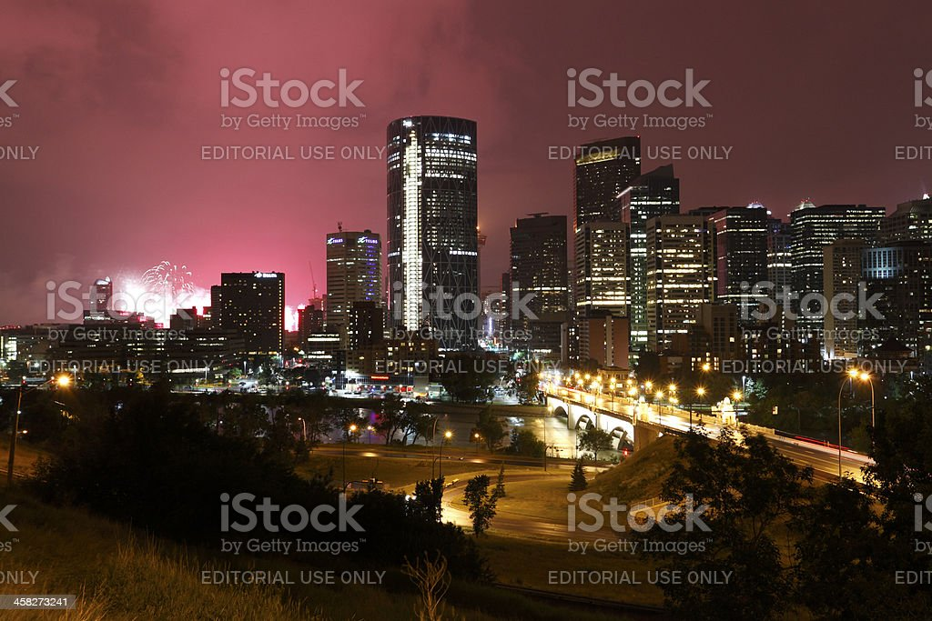 Fireworks Light up the Calgary Skyline stock photo