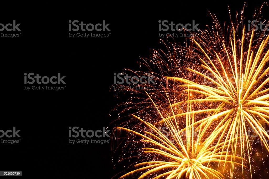 Fireworks on black background. stock photo