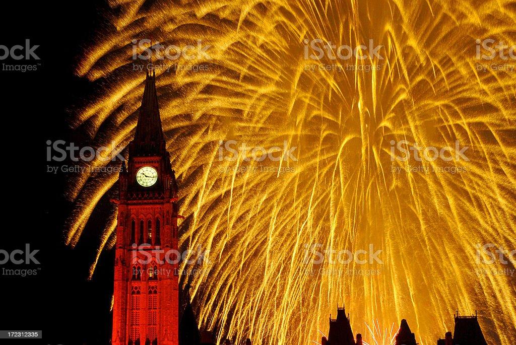 Fireworks on Canada Day in Ottawa stock photo