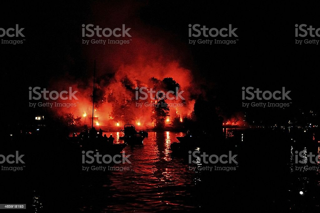 Fireworks on Comacina Island in Lake Como royalty-free stock photo