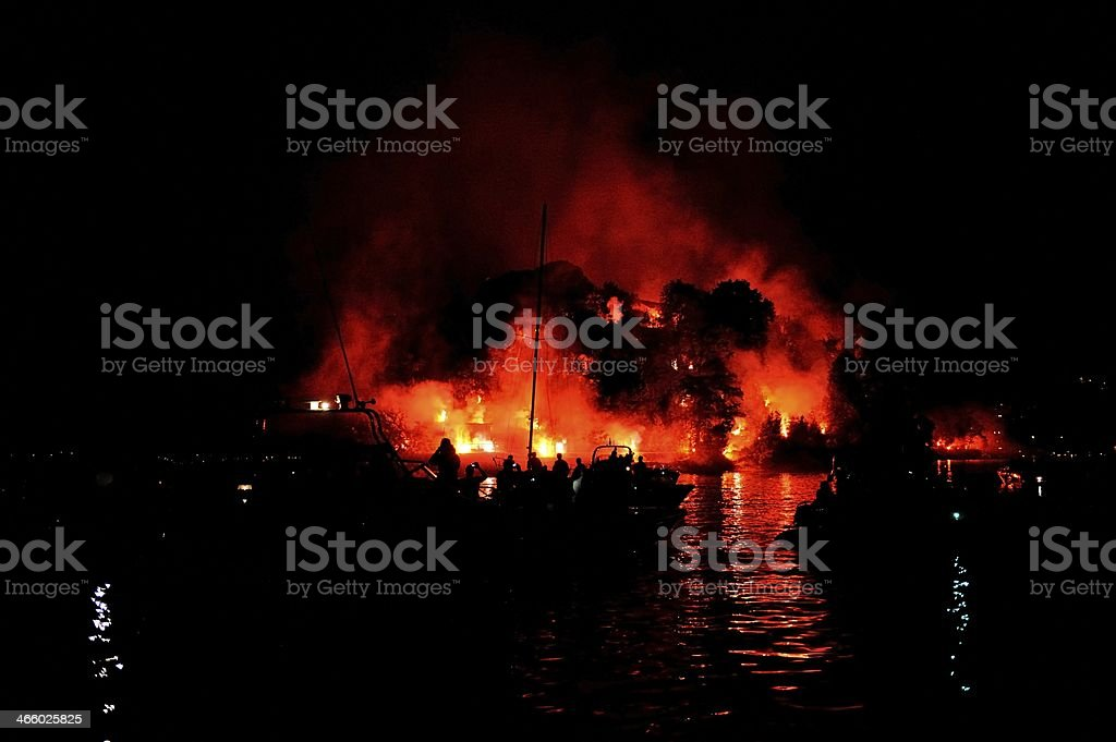 Fireworks on Comacina Island royalty-free stock photo