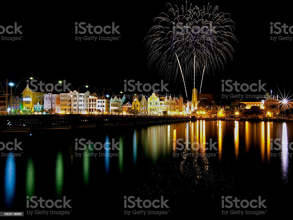 Fireworks on Curacao stock photo