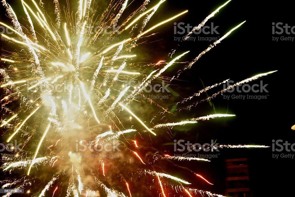 Fireworks on Dark Background stock photo