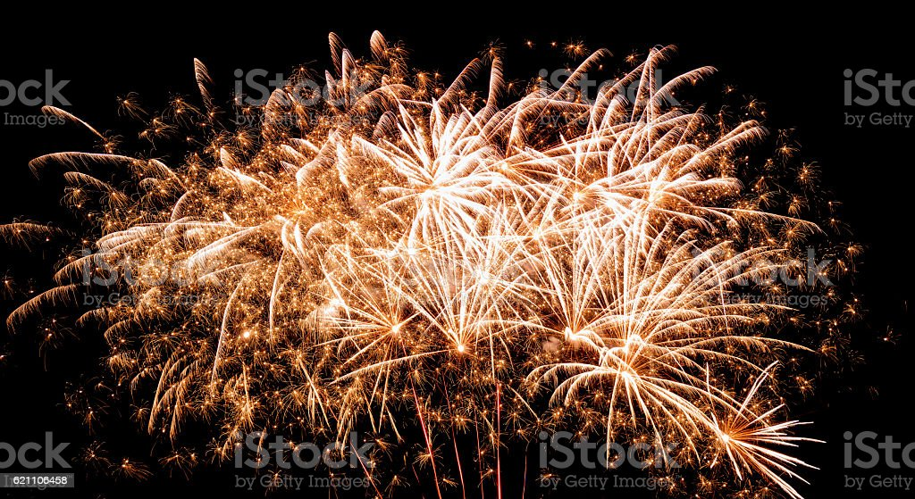 Fireworks on Guy Fawkes night in the UK stock photo