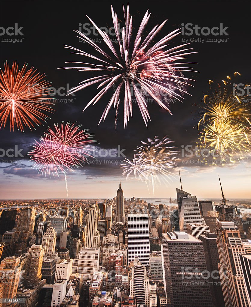 fireworks on new york city for a national day stock photo