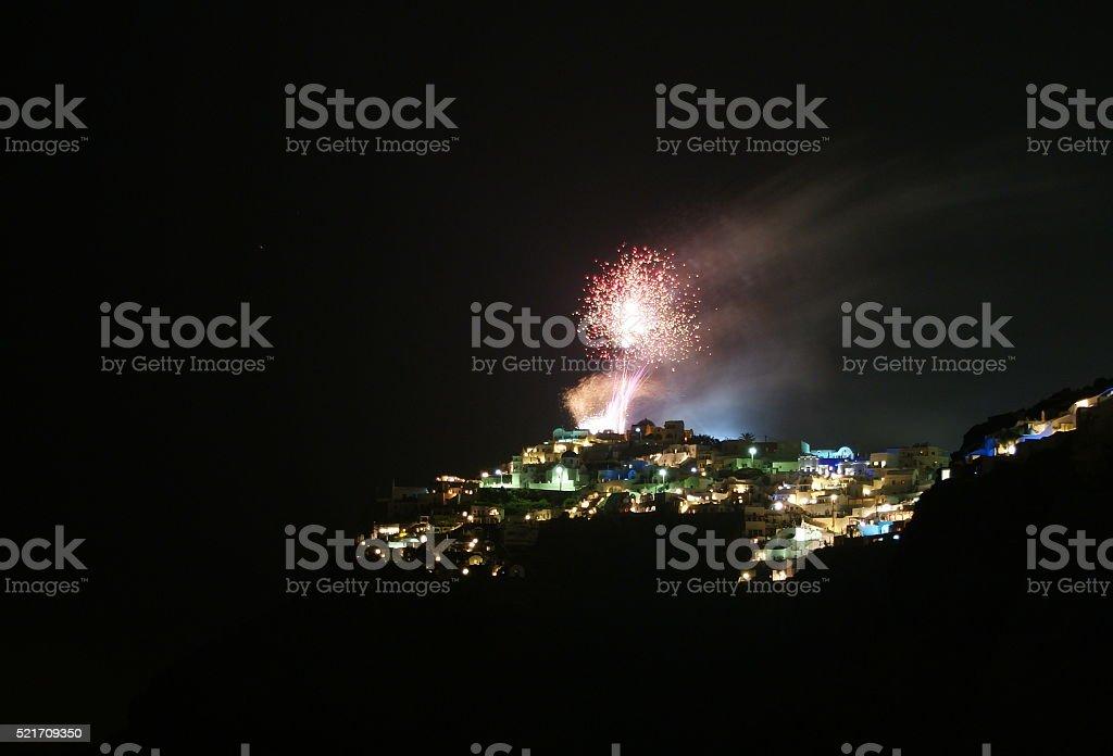 Fireworks on Santorini stock photo