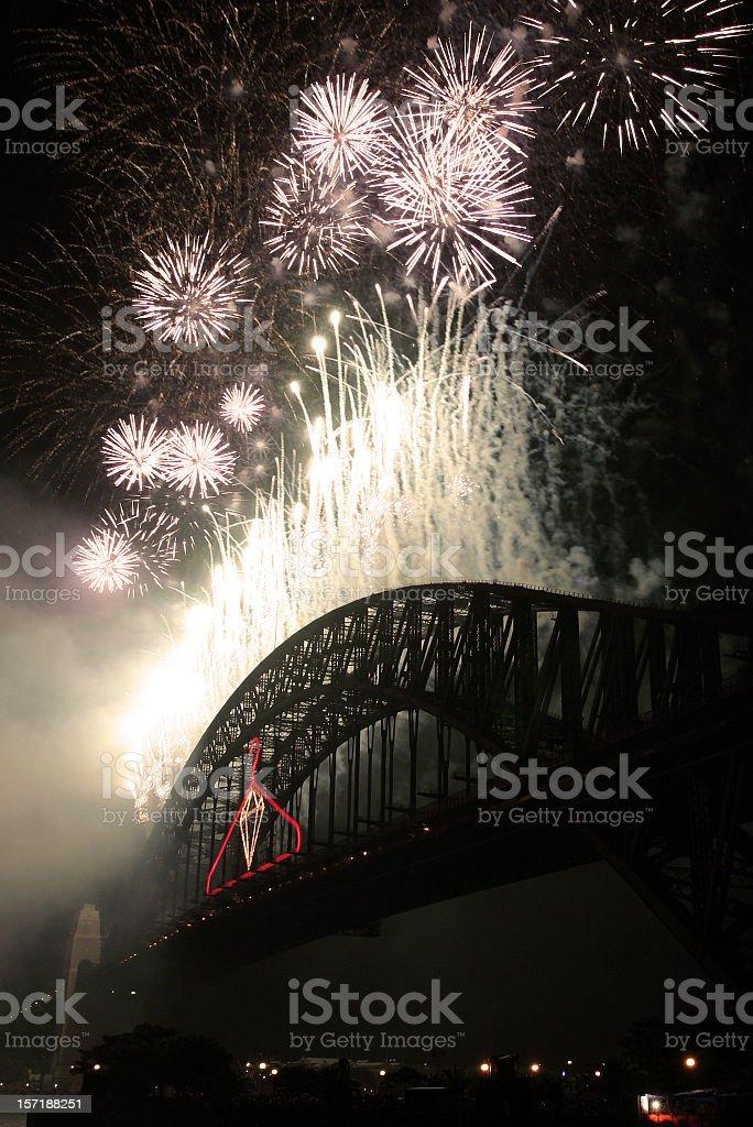 fireworks on sydney harbour bridge stock photo