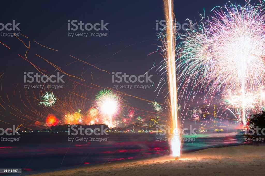 Fireworks on the beach stock photo