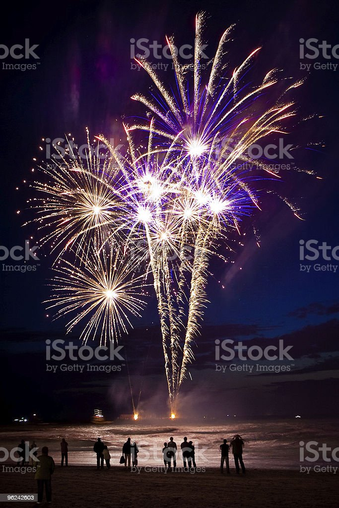 Fireworks on the beach royalty-free stock photo