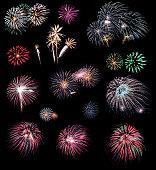 Fireworks on the black background