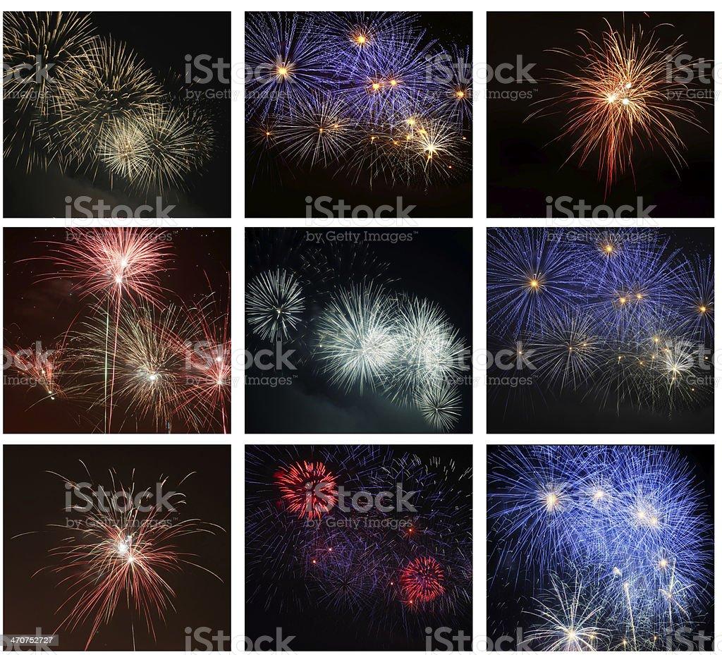 Fireworks on the black sky royalty-free stock photo