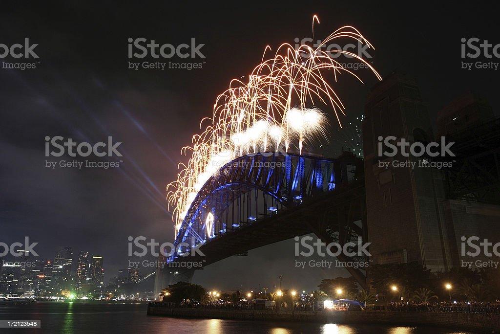 fireworks on the bridge royalty-free stock photo