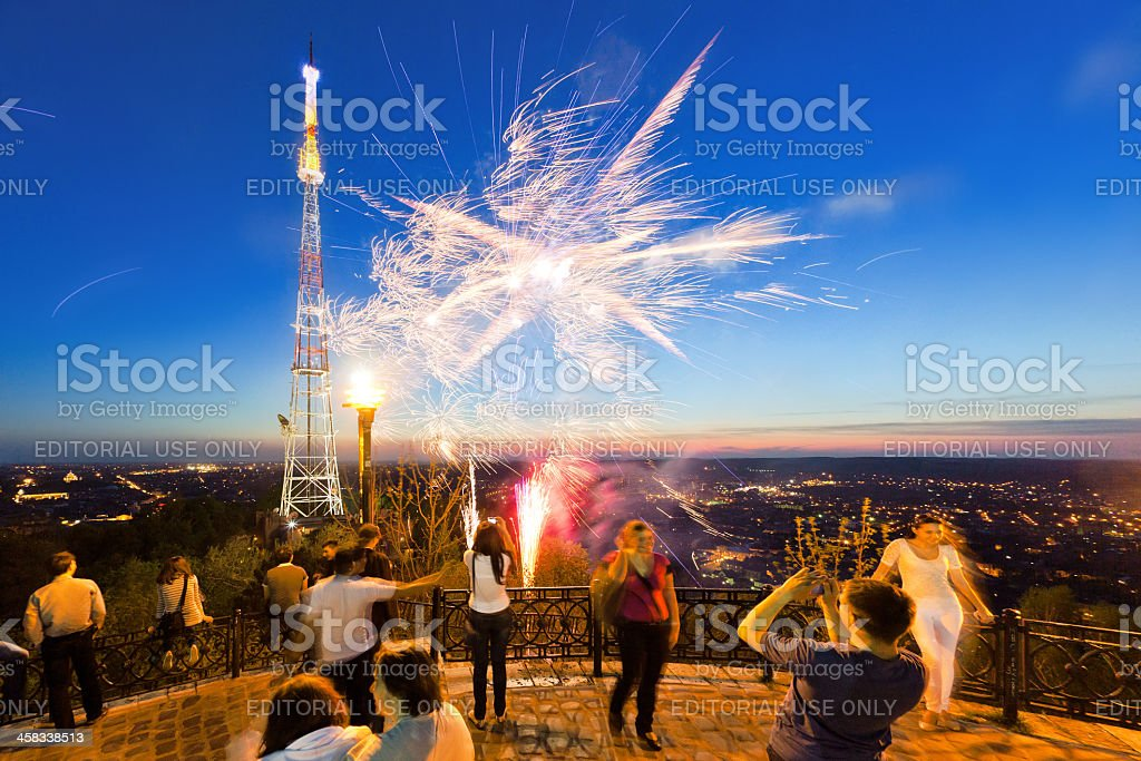 Fireworks on the Castle hill in Lviv royalty-free stock photo