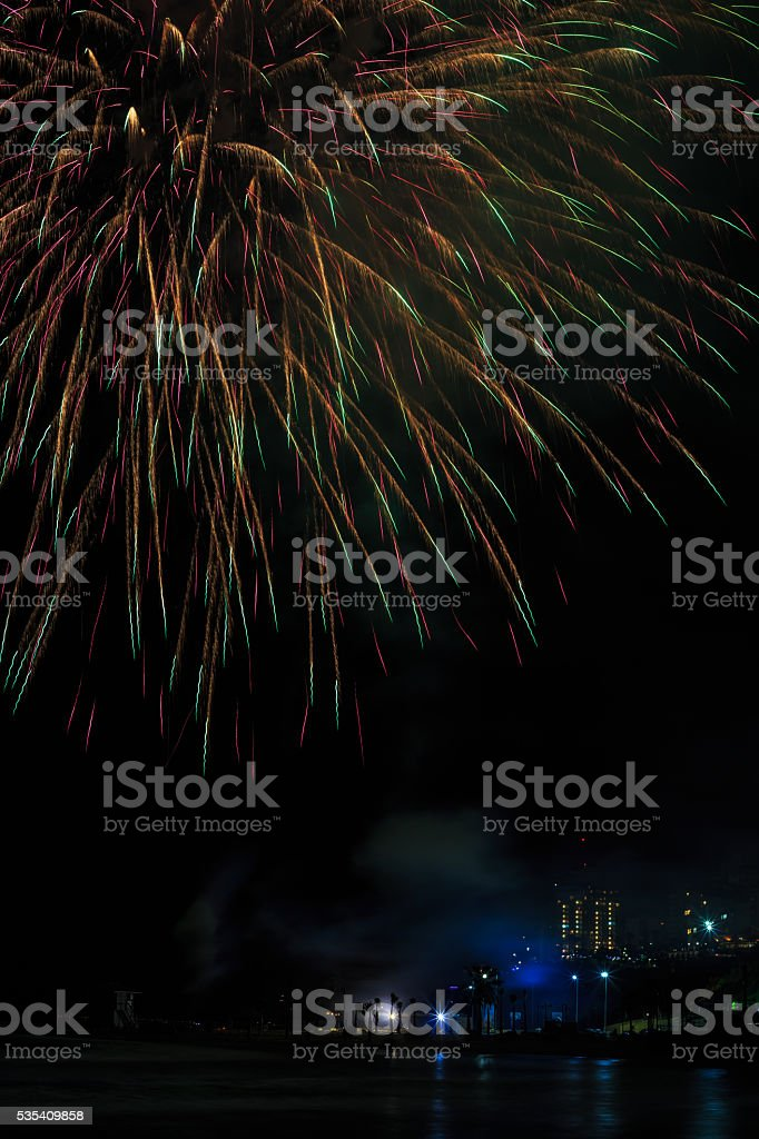 Fireworks on the celebration of Independence day stock photo