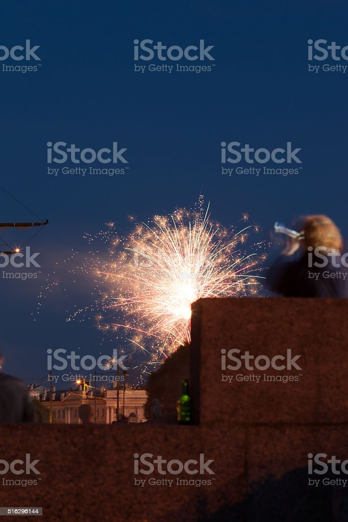 fireworks on the embankment of St. Petersburg stock photo