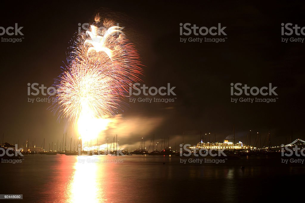 fireworks on the fourth of July stock photo