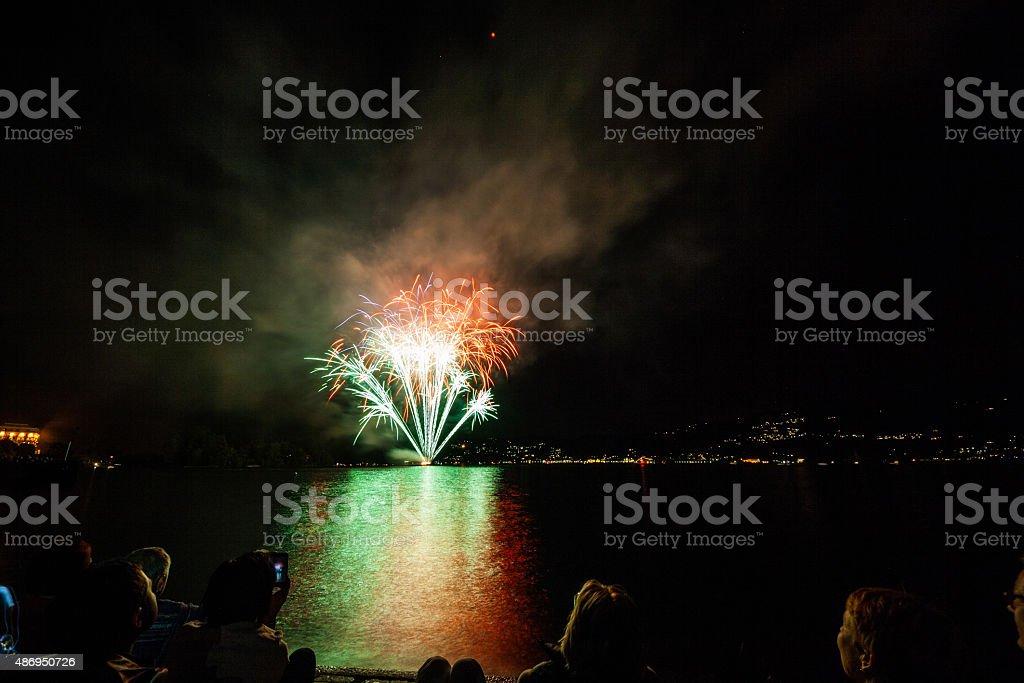 Fuochi d'artificio sul lungolago, Verbania, Lago Maggiore, Piemonte, Italia stock photo