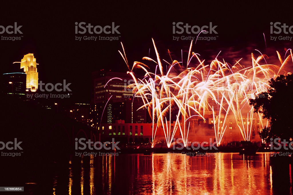 fireworks on the Mississippi River royalty-free stock photo