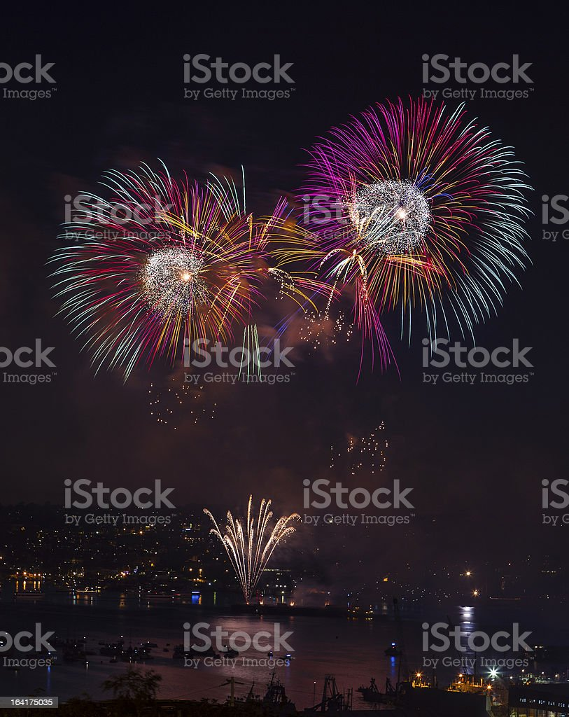 Fireworks on the water in Seattle Washington royalty-free stock photo