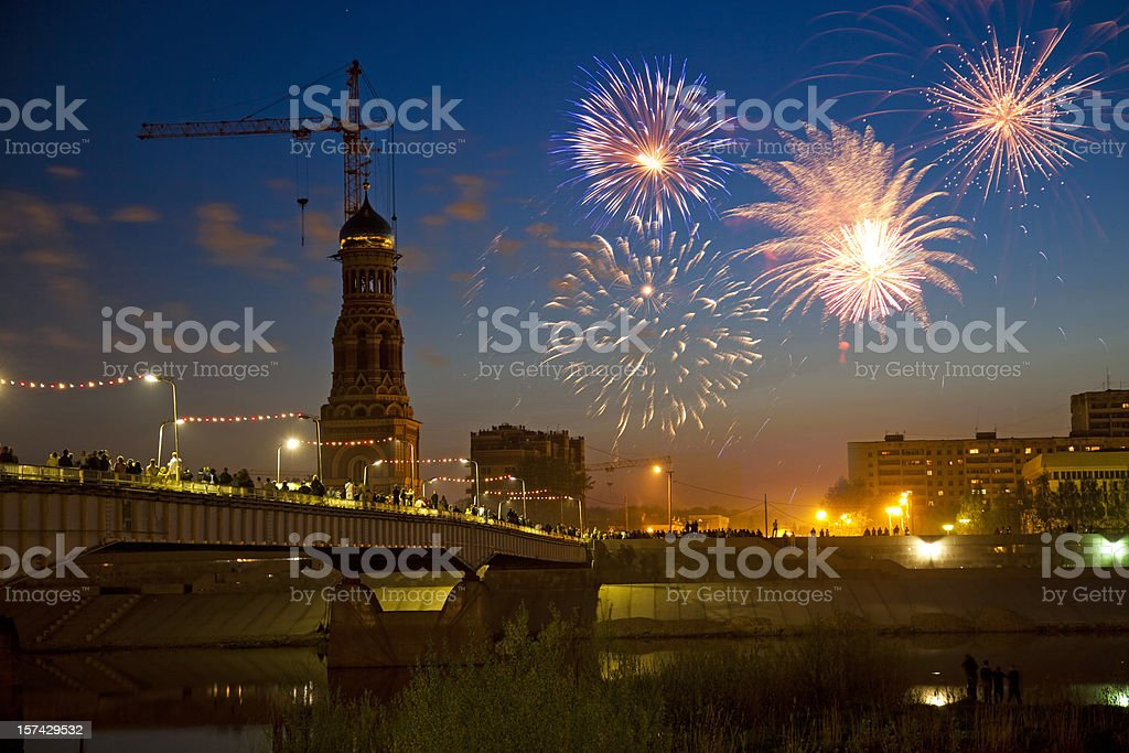 Fireworks on Victory Day celebrations in Russia royalty-free stock photo