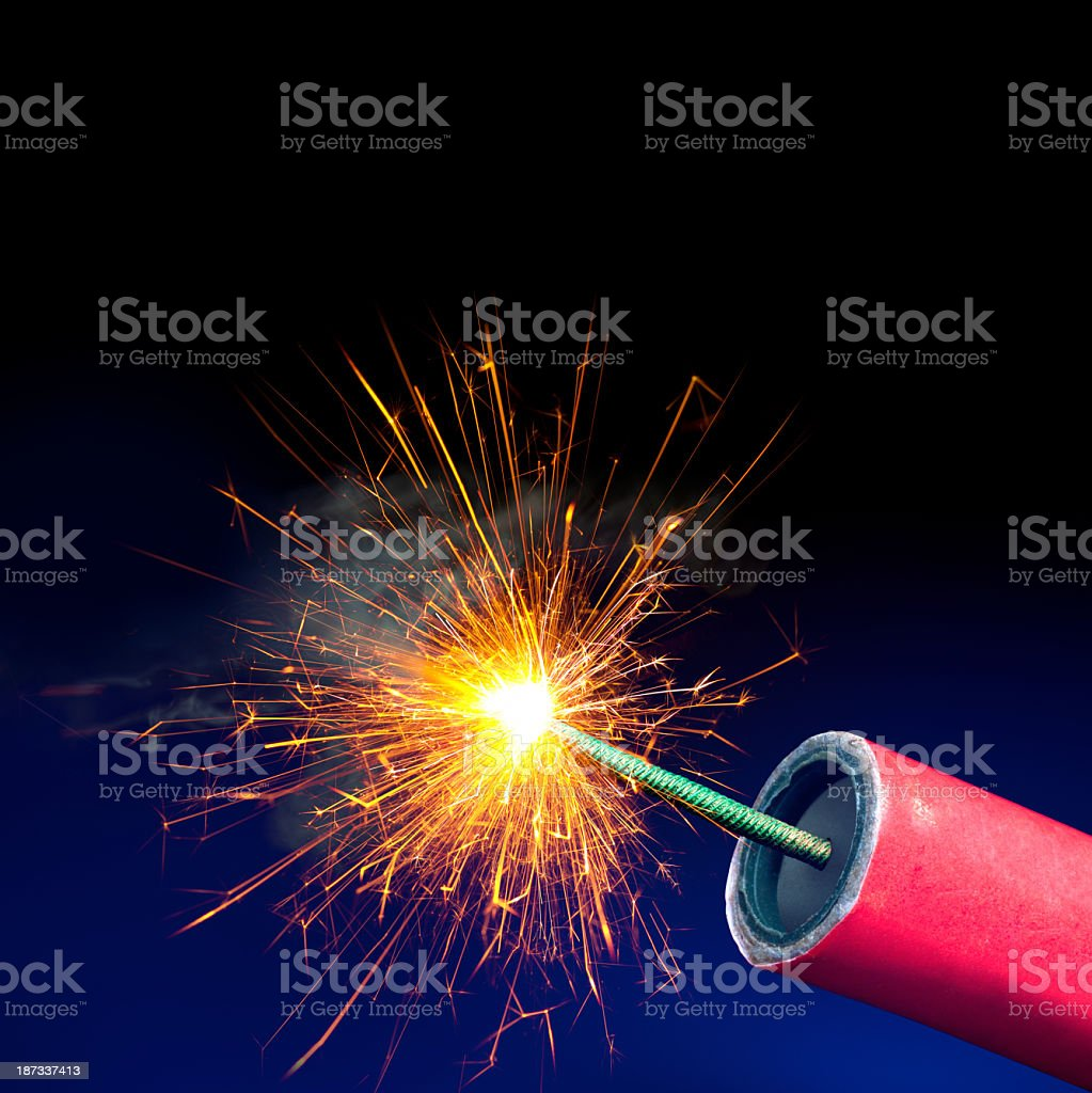 Fireworks or Explosives, Sparkling Lit Fuse, Copy Space stock photo