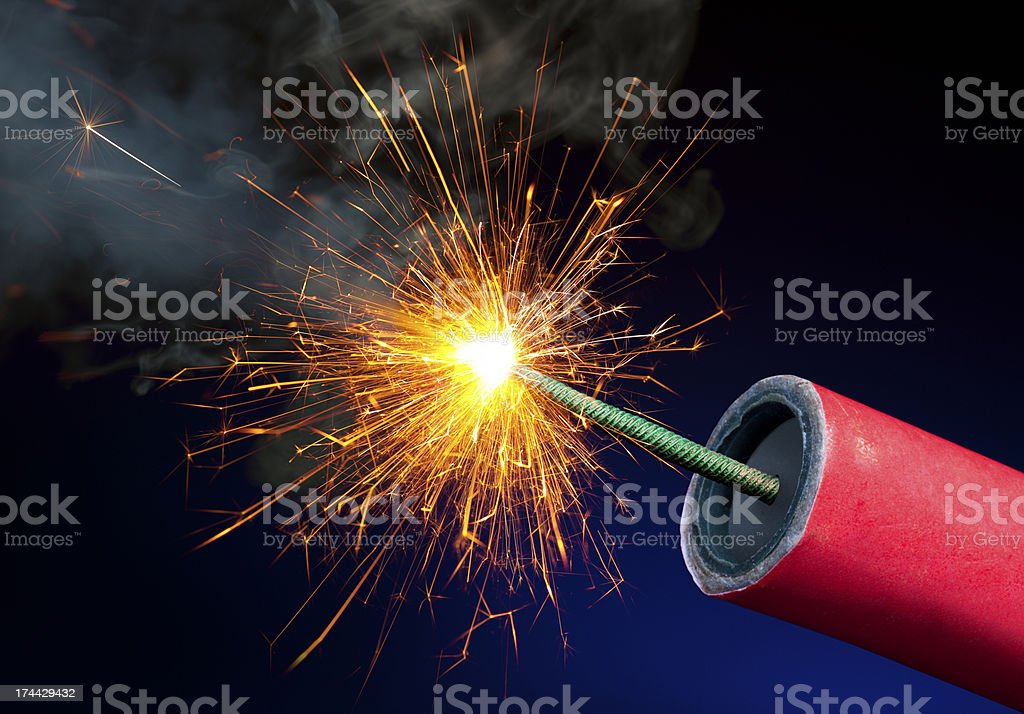 Fireworks or Explosives With Sparkling Lit Fuse royalty-free stock photo