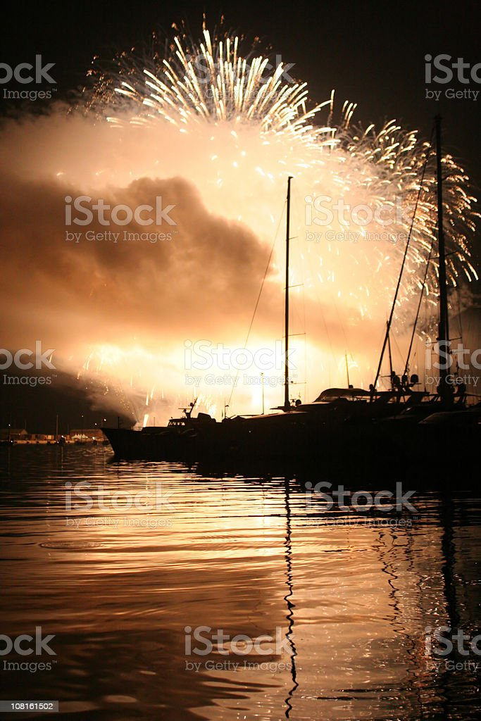 Fireworks Over Boat Harbor stock photo