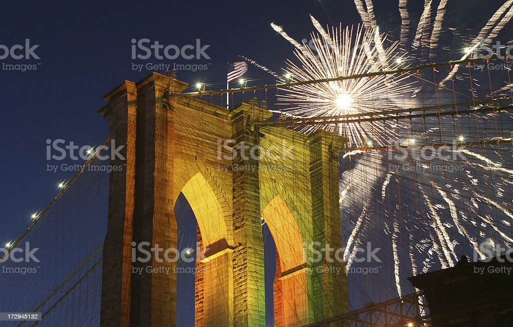 Fireworks Over Brooklyn Bridge royalty-free stock photo