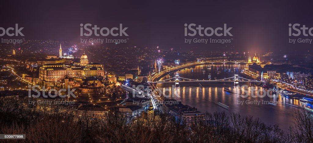 Fireworks over Budapest, Hungary stock photo
