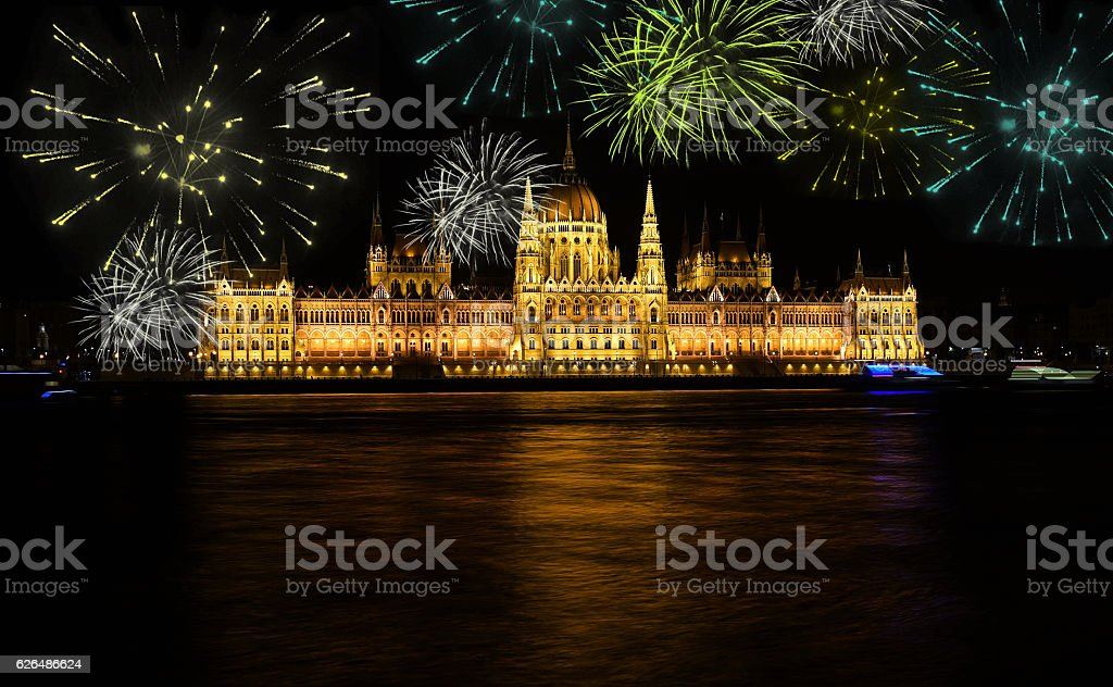 Fireworks over Budapest parliament at night stock photo