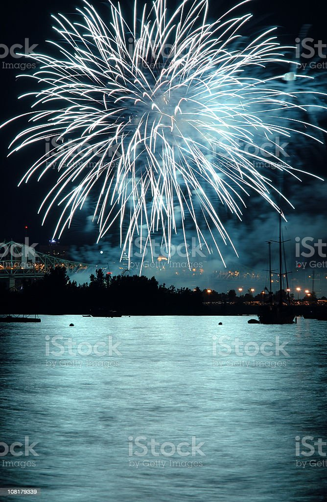 Fireworks Over Lake at Night royalty-free stock photo