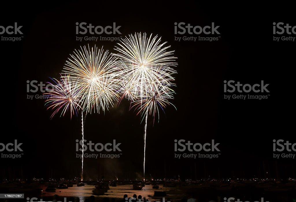 Fireworks over Lake Michigan stock photo