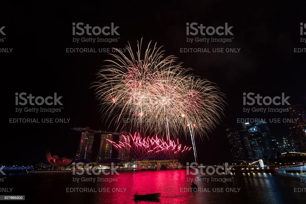 Fireworks over Marina Bay stock photo