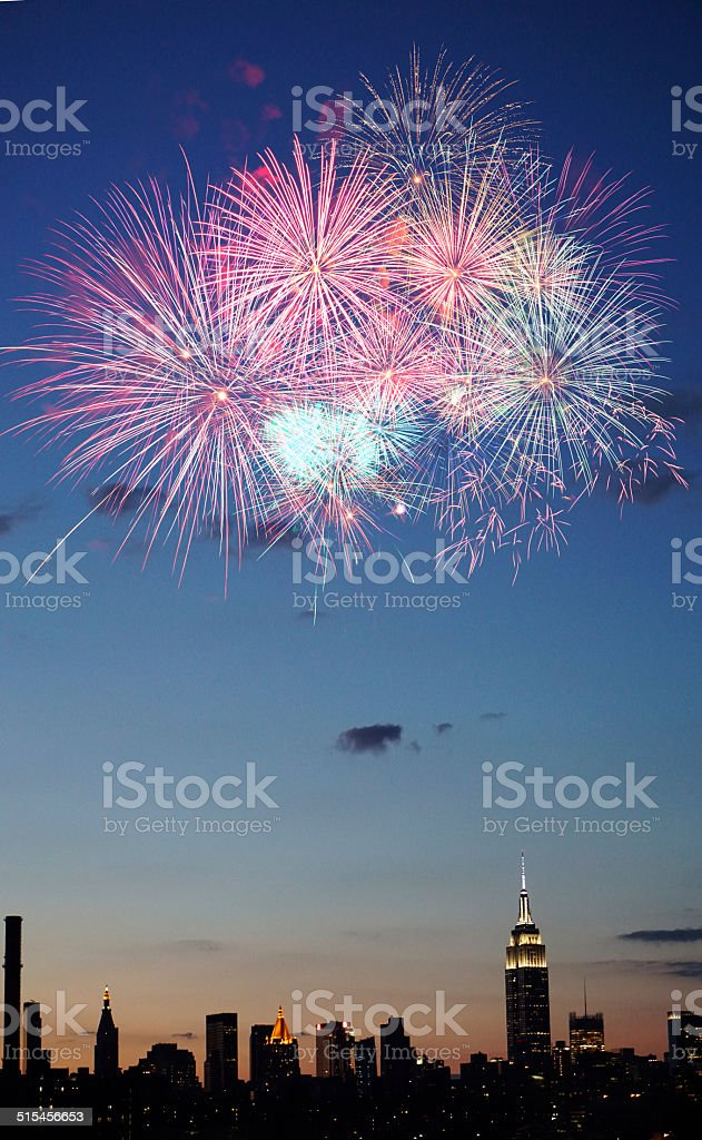 Fireworks over New York City stock photo