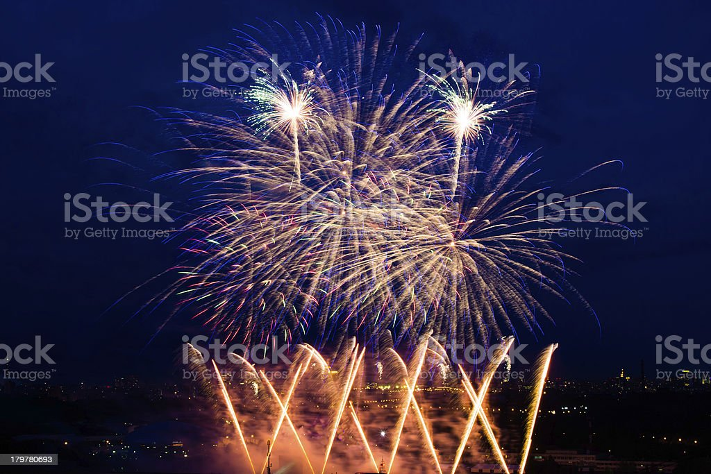 fireworks over night sky royalty-free stock photo