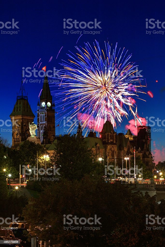 Fireworks Over Parliament Hill In Ottawa Canada-Stock image stock photo