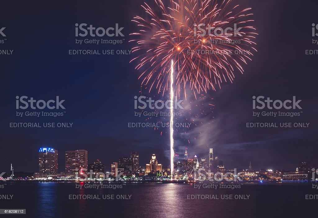Fireworks over Philadelphia stock photo